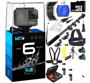 Go Pro HERO6 Black 20PC Accessory Kit - Includes 32GB microSD Card + High Speed Memory Card Reader + Heavy Duty Monopod Selfie Stick + Micro HDMI Cable + Flexible Gripster Tripod + MORE