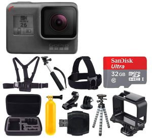 PHOTO4LESS GoPro HERO6 Black Action Camera + 32GB microSDHC with Adapter + Medium Case + Vivitar Memory Card Holder (24 Slots) + Head & Chest Strap + Adhesive Mounts + Floating Handle + Spike Mount + Accessories